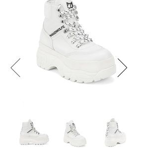 White leather Naked Wolfe platform boots